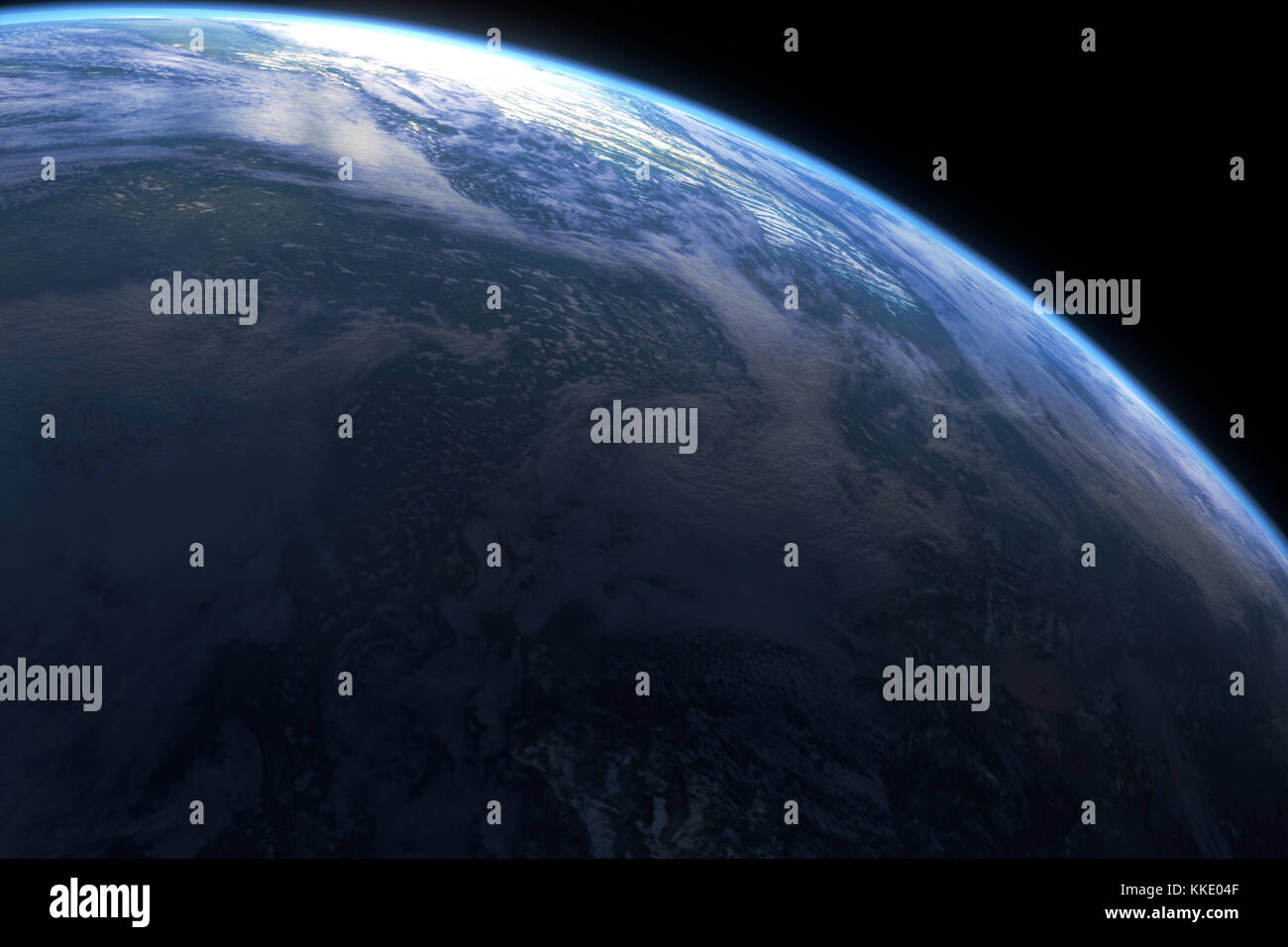 This image represent a generic planet with atmosphere or earth closeup. It is a realistic 3d rendering Stock Photo