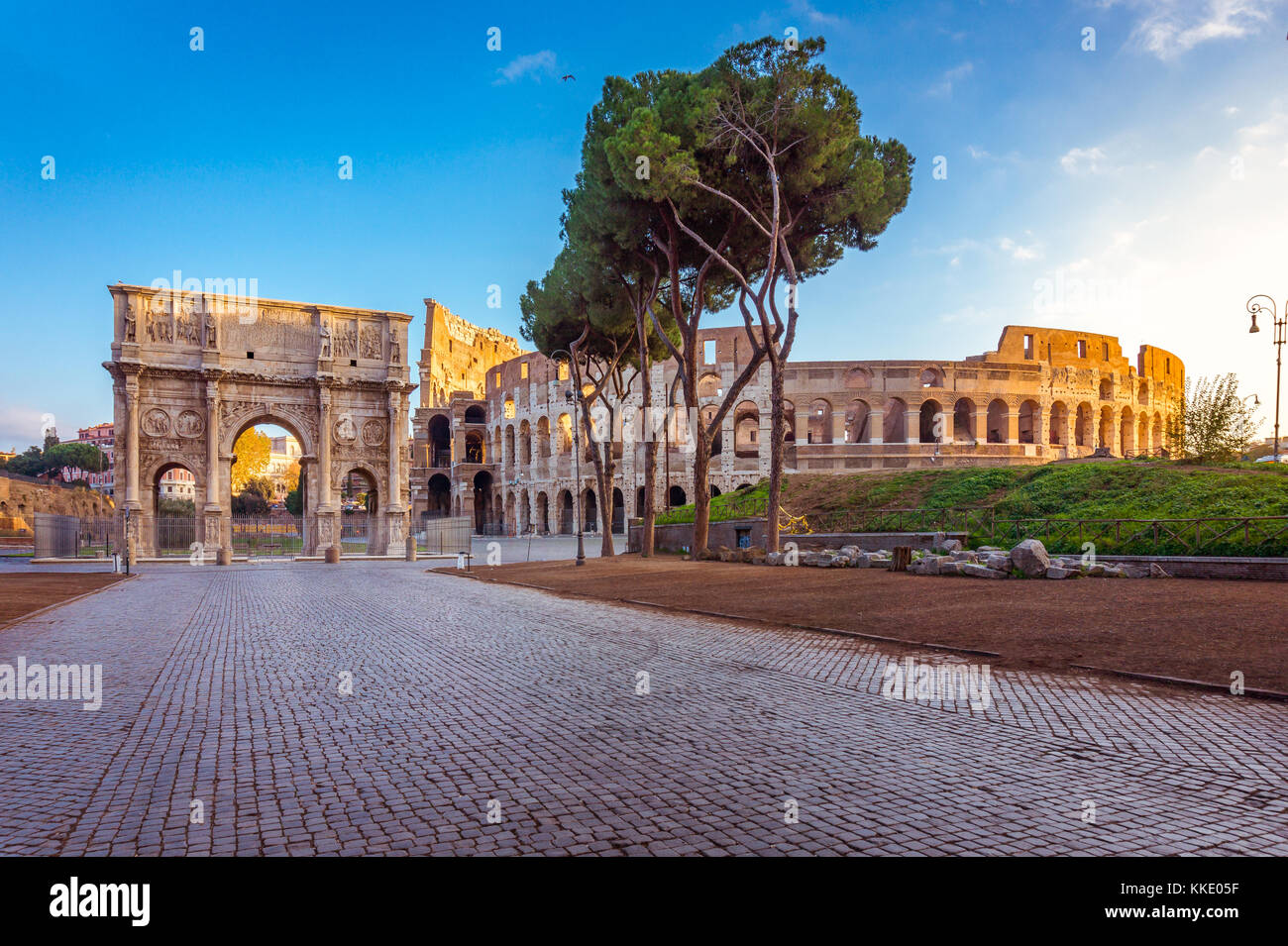 Beautiful view over Colosseum and Arch of Constantine in the morning in Rome, Italy, Europe - Stock Image