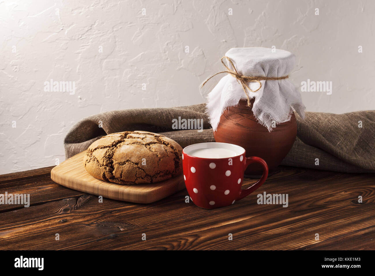 Russian hygge breakfast - Stock Image