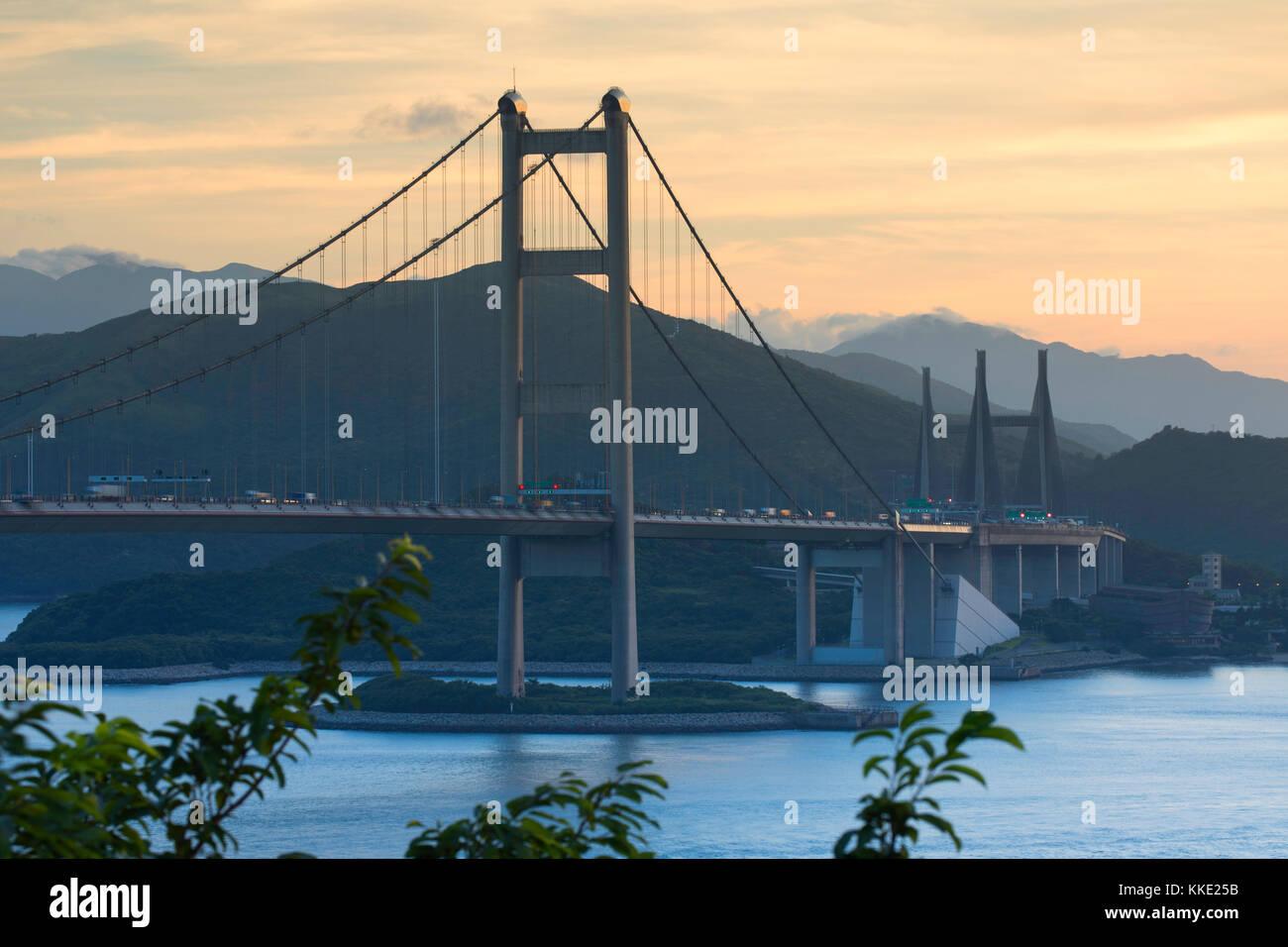Tsing Ma Bridge, Tsing Yi, Hong Kong, China - Stock Image