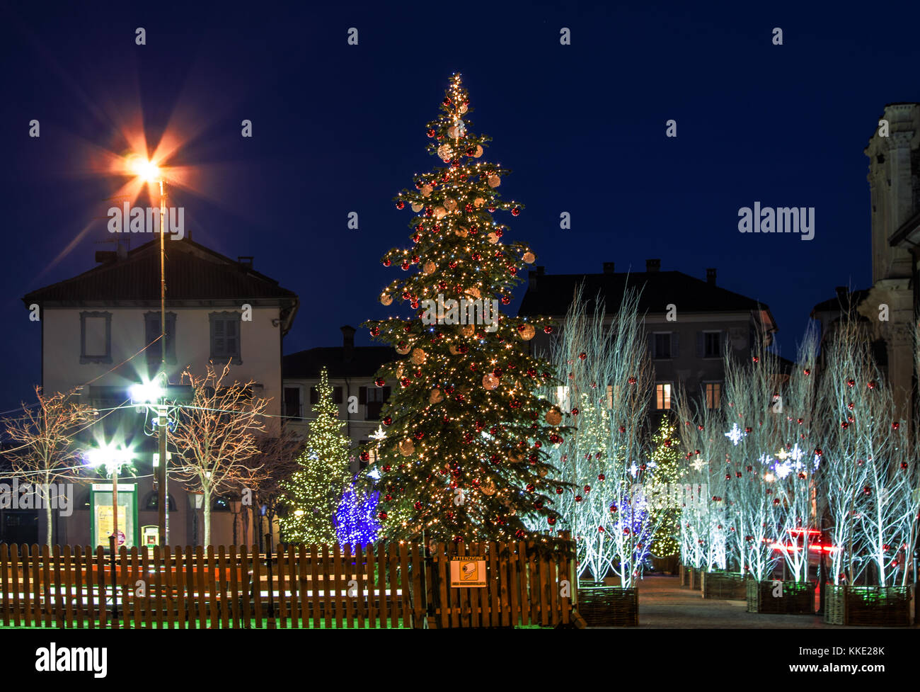 Festive Atmosphere In The City Center With Colored Lights Stock Photo Alamy