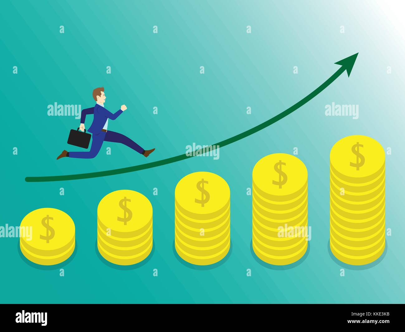 Business Concept As A Businessman Is Running On Growth Coins Graph. He Is Enjoying The New Growth Of Income And Stock Vector