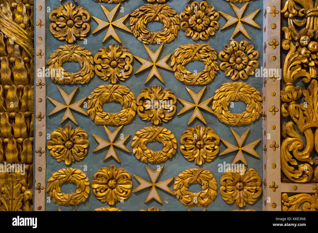 Decorated walls in the nave / interior inside of St John's Co-Cathedral. Valletta, Malta. Surface is 3 dimensional, - Stock Image