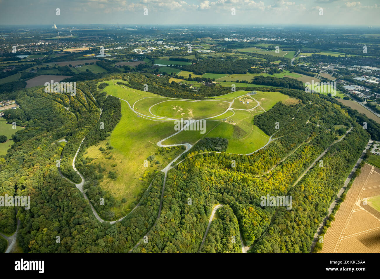 Halde, Northern Germany, mountainside, recreational heap, hang-gliding, Neukirchen-Vluyn, Lower Rhine, North Rhine - Stock Image