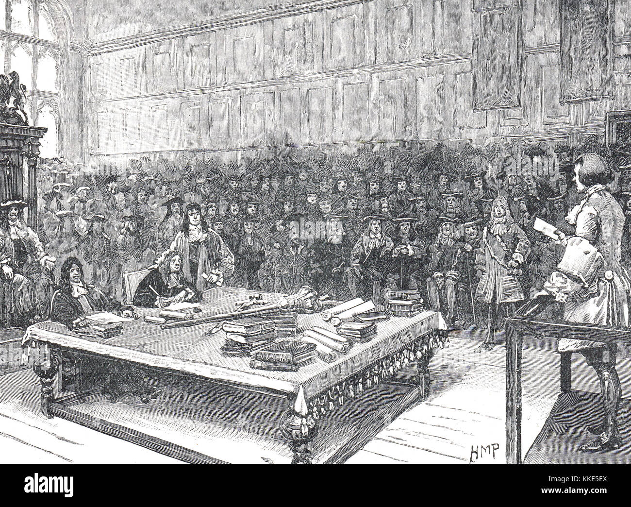 Captain Kidd, privateer, answering questions before the house of commons, 1701 - Stock Image