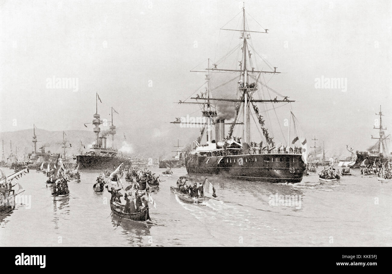 The visit of the Russian fleet to Toulon, France in 1893 to reinforce the Franco-Russian Alliance.  From Hutchinson's - Stock Image