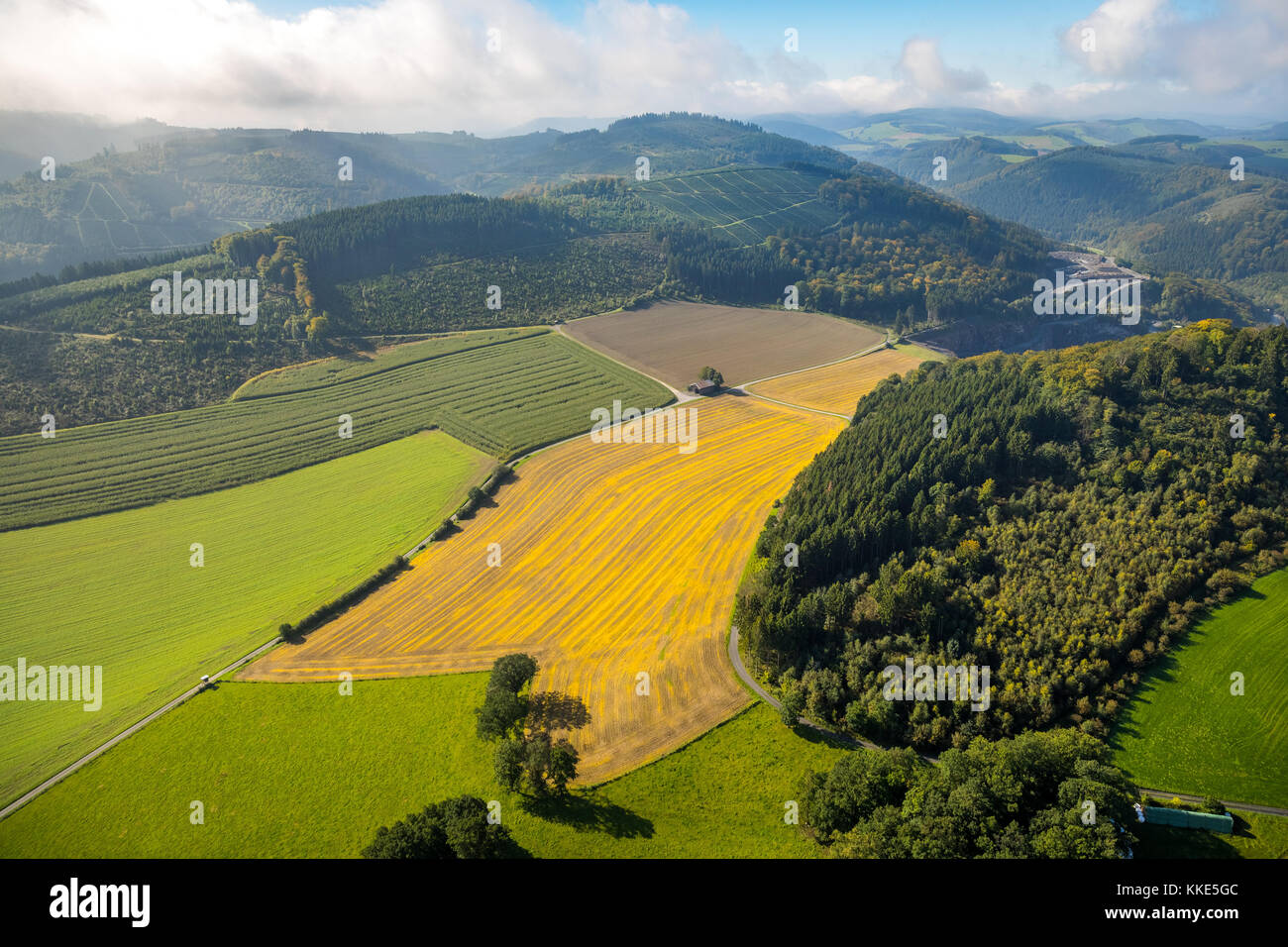 Wallenstein, dirt road, intersection of a dirt road, old barn made of tin, paths intersect, Meschede, Sauerland, - Stock Image