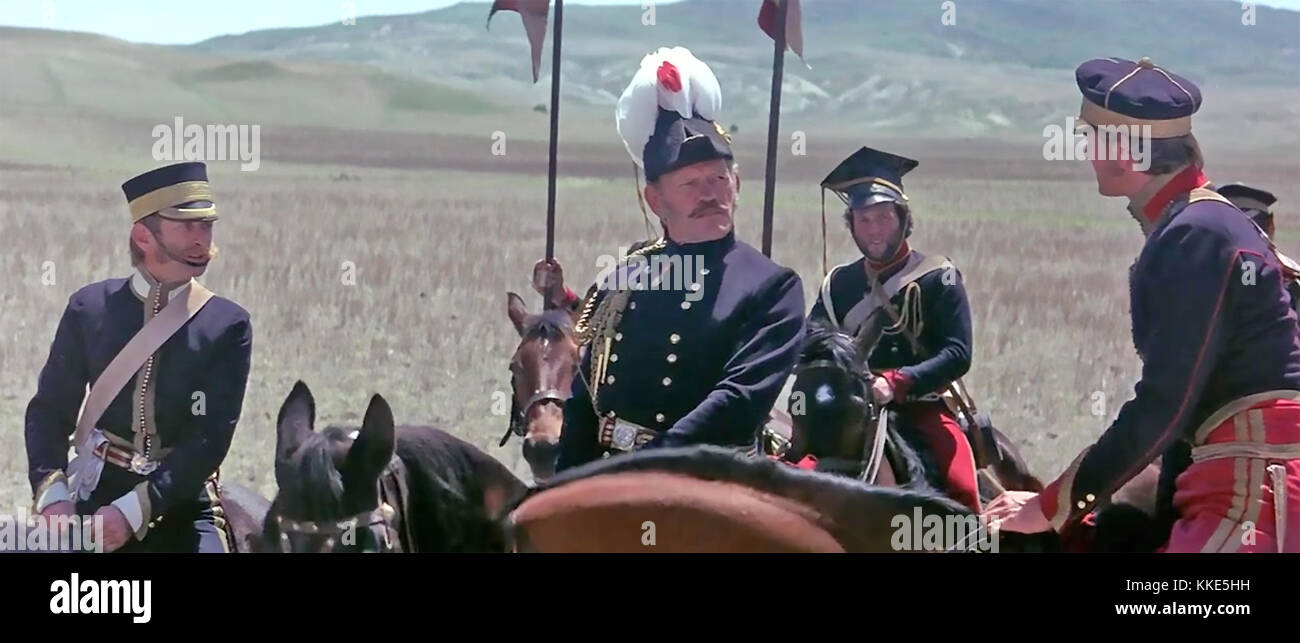 THE CHARGE OF THE LIGHT BRIGADE 1968 United Artists film with Harry Andrews as Lord Lucan here receiving the fatal - Stock Image