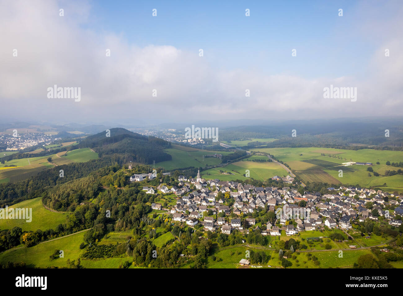 View of Eversberg with clouds, oldest half-timbered village of the Sauerland, Meschede, Sauerland, Hochsauerland, - Stock Image