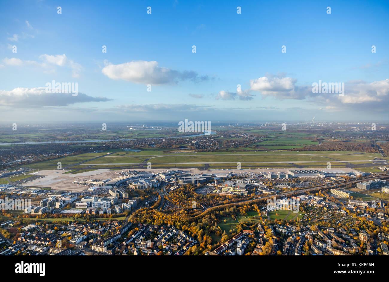 Dusseldorf Airport, Tower Airport, Euro Wings aircraft on the runway 23R, Dusseldorf, Rhineland, North Rhine-Westphalia, - Stock Image