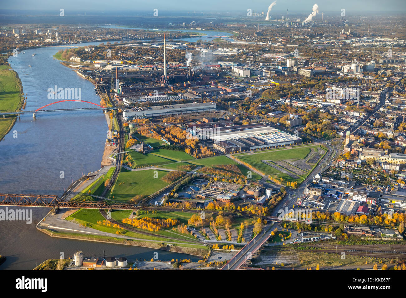 Rheinpark, Rhine, Skatepark Duisburg, Dickelsbach, Duisburg, Ruhr area, North Rhine-Westphalia, Germany, Duisburg, Stock Photo