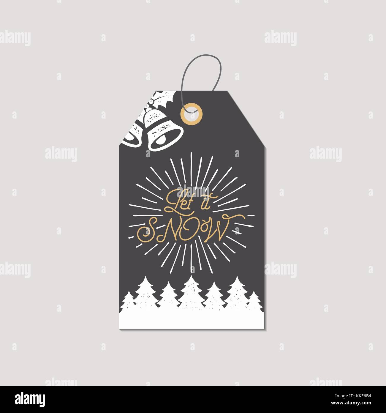 Merry Christmas And New Year Gift Tag Holiday Card Concept With