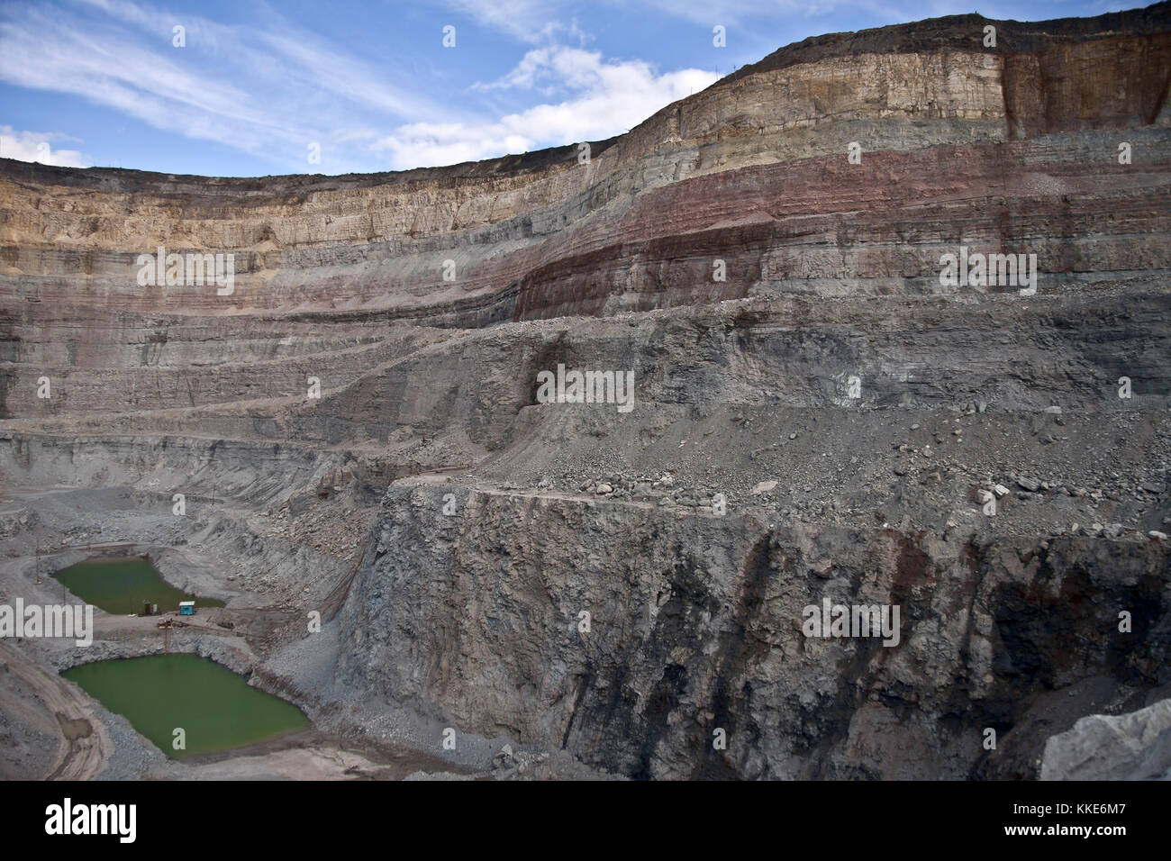 Aerial View Of Open Pit Copper Mine Stock Photos & Aerial