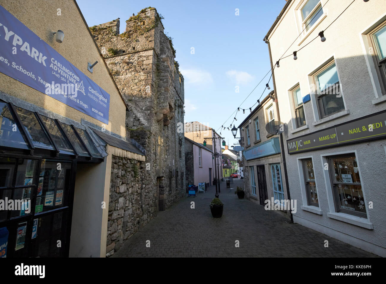 narrow historic tholsel street at the mint mediaeval layout carlingford county louth republic of ireland - Stock Image