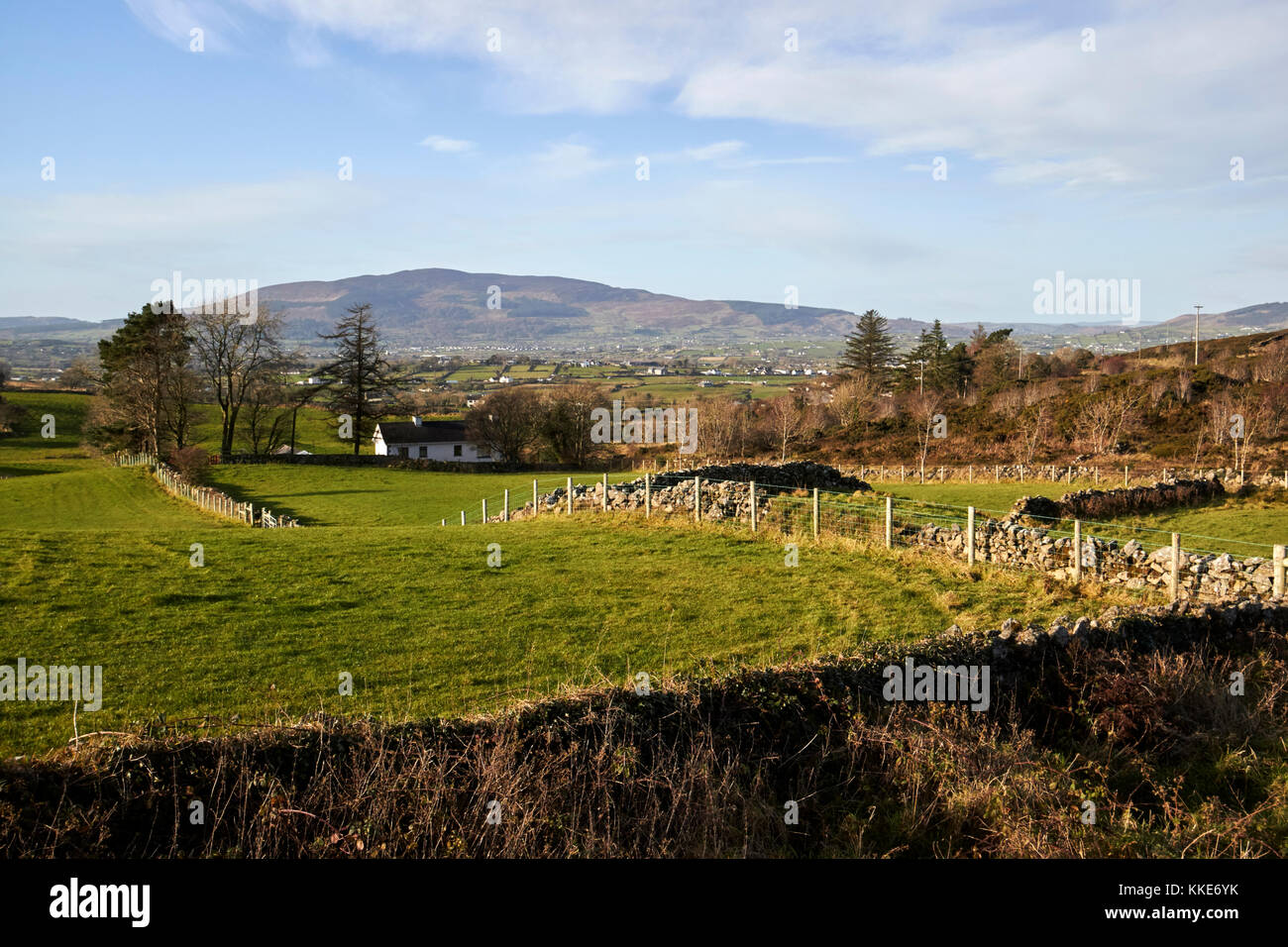 The view from flagstaff hill over the border country of south county armagh northern ireland and county louth in - Stock Image