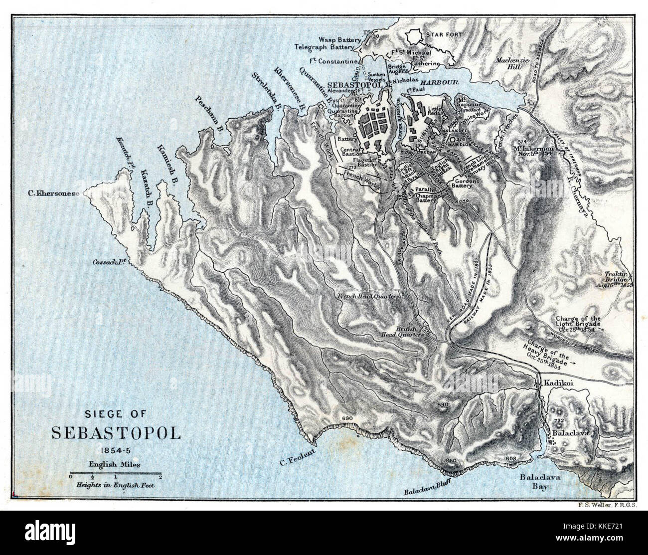 A historical map showing the territory between Balaclava and Sevastopol at the time of the Siege of Sevastopol - Stock Image