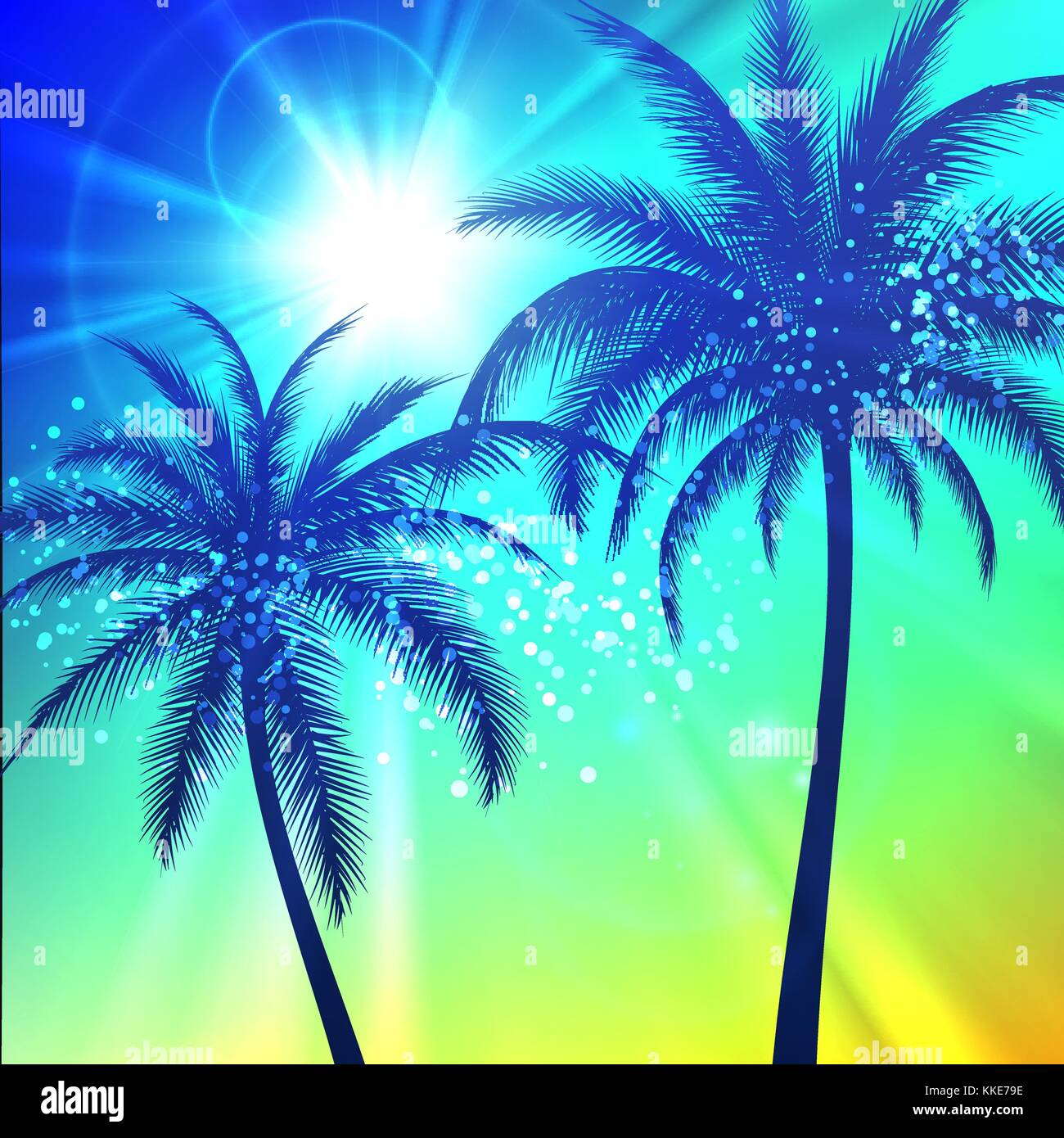 Summer background with palm silhouettes - Stock Vector