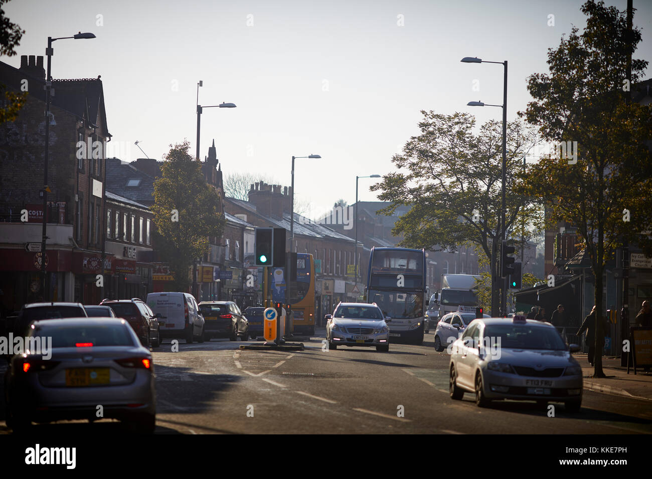 Didsbury Villag, Wilmslow Road in South Manchester - Stock Image