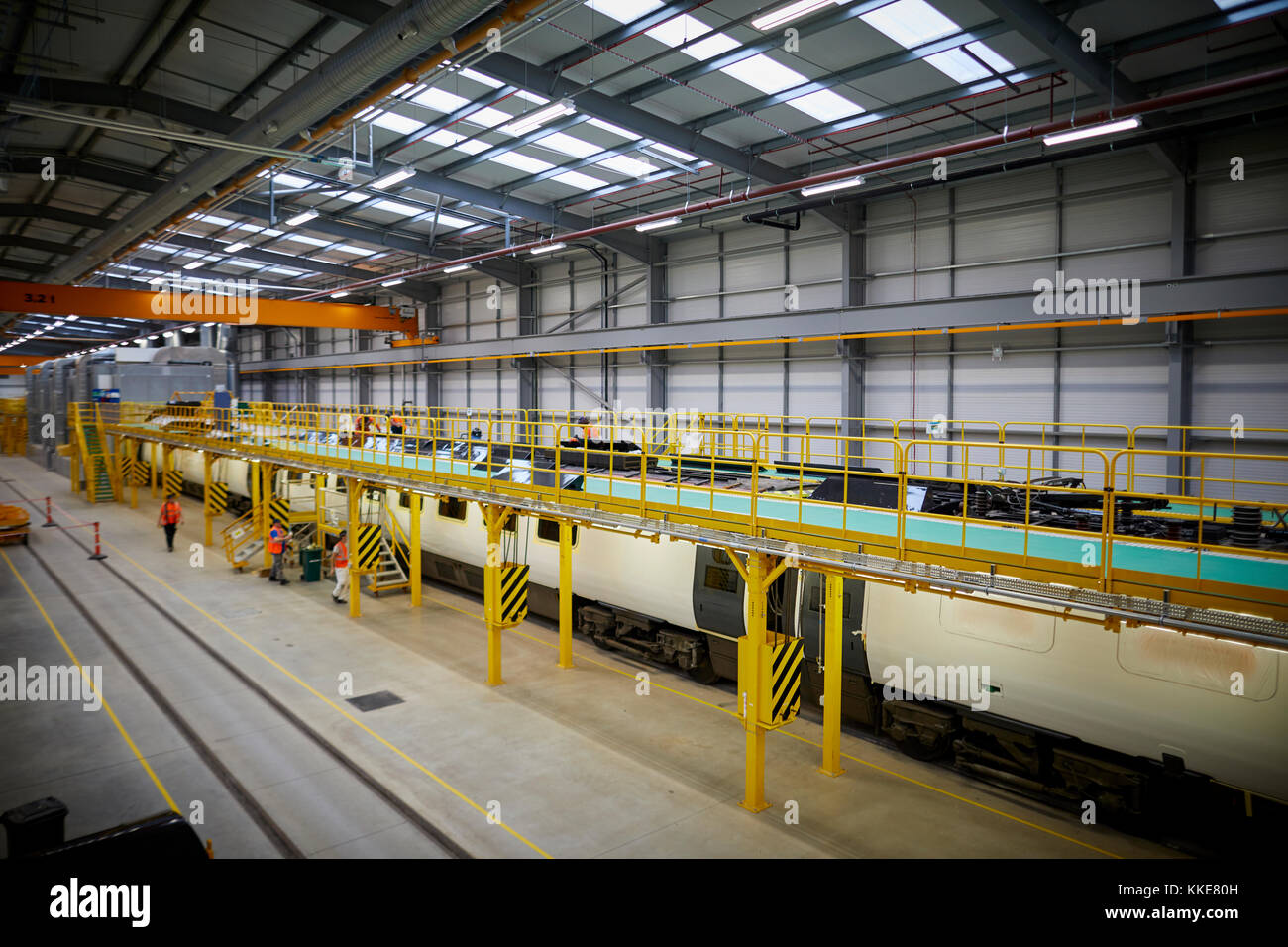 Alstom Class 390 Pendolino railway stock being refurbished at the start of the art Alstom Widnes repainting plant, - Stock Image