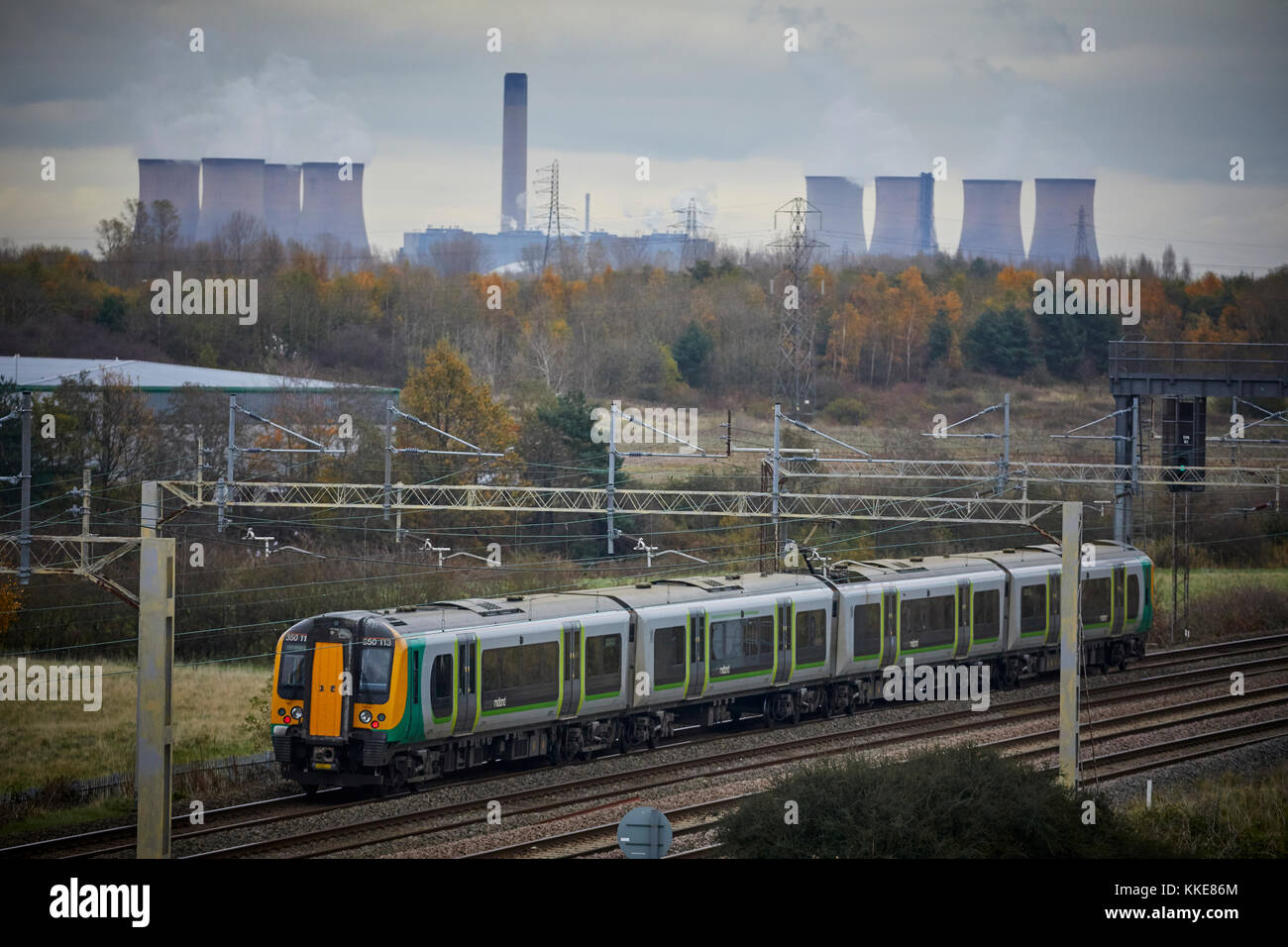 British Rail Class 350 Desiro electrical multiple unit built by Siemens  London Midland Liverpool to Birmingham - Stock Image