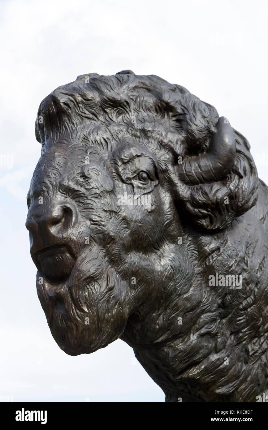 One of the four buffalo sculptures on the top of the Dumbarton Bridge, (Q Street Bridge or the Buffalo Bridge) in - Stock Image