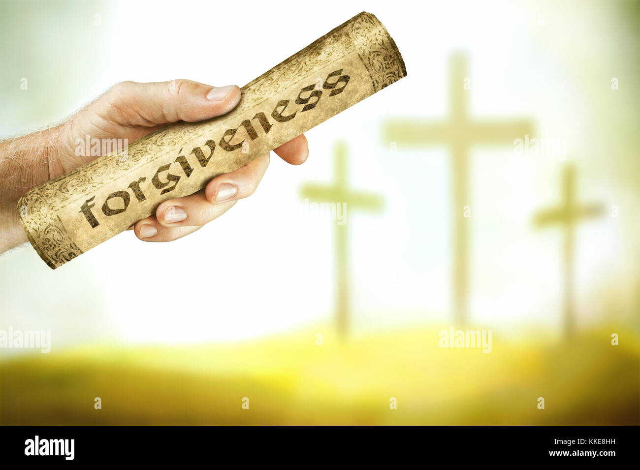 A hand that shows the message of forgiveness from the cross of the Lord Jesus. Jesus blood cries out with a message - Stock Image