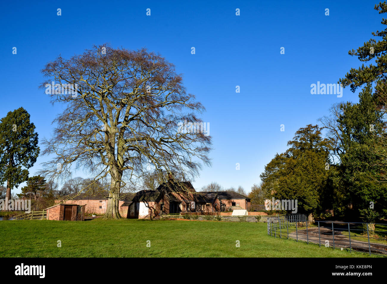 Extensive view of the working farm inside Shugborough Hall Estate, Staffordshire, England - Stock Image