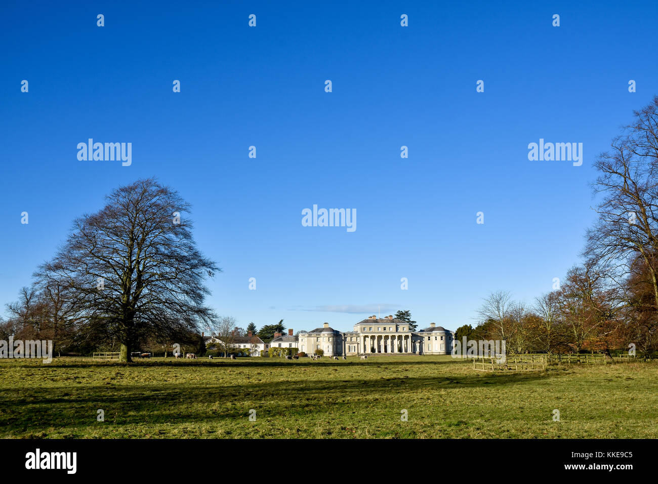 Extensive view across the front lawns of Shugborough Hall, Staffordshire which is the ancestral home of the Earl - Stock Image