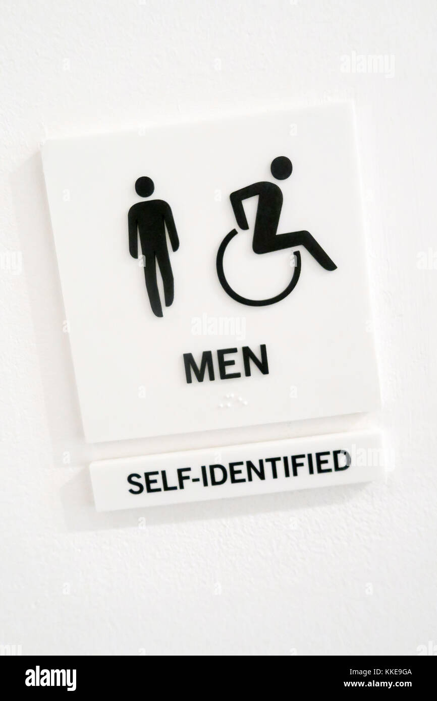 Restroom Sign Pictograms, NYC, USA - Stock Image