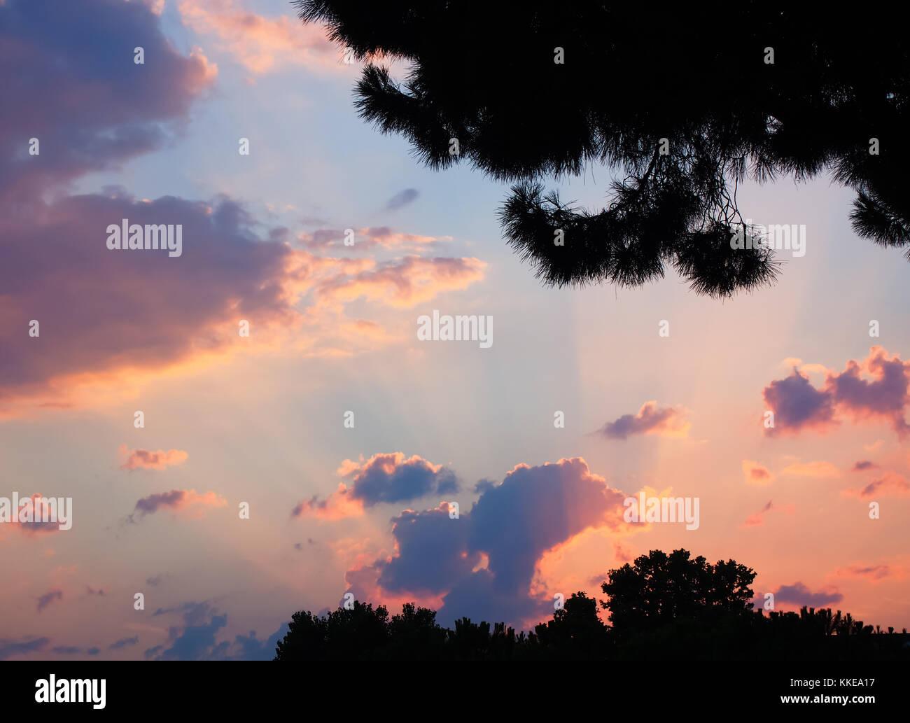 Sunset sky Rimini Italia background - Stock Image