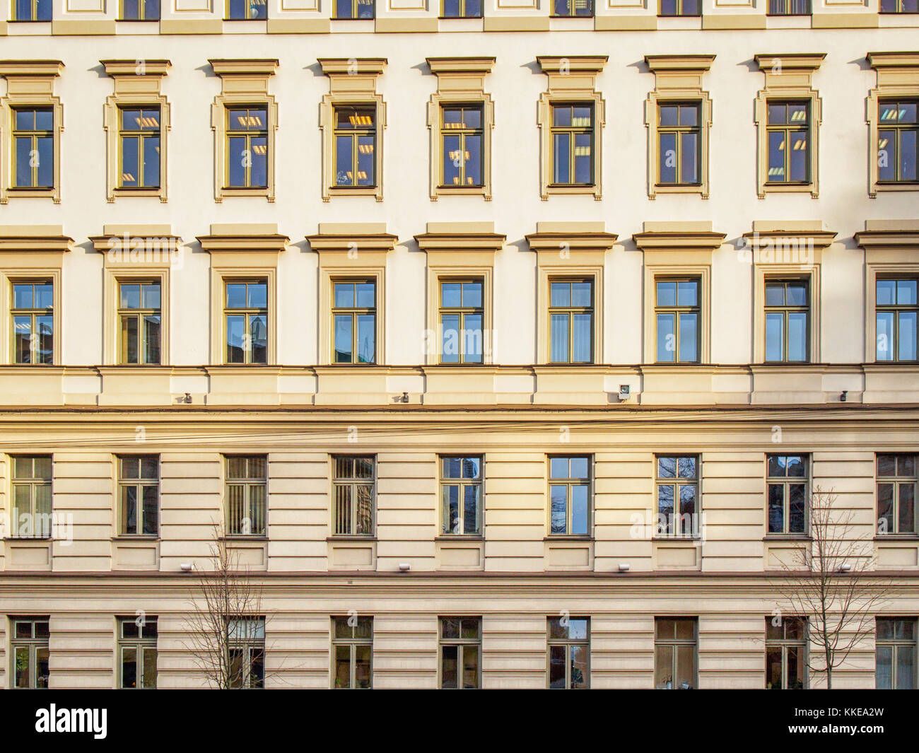 Facade with windows in the Soviet classicism style in Vilnius - Stock Image