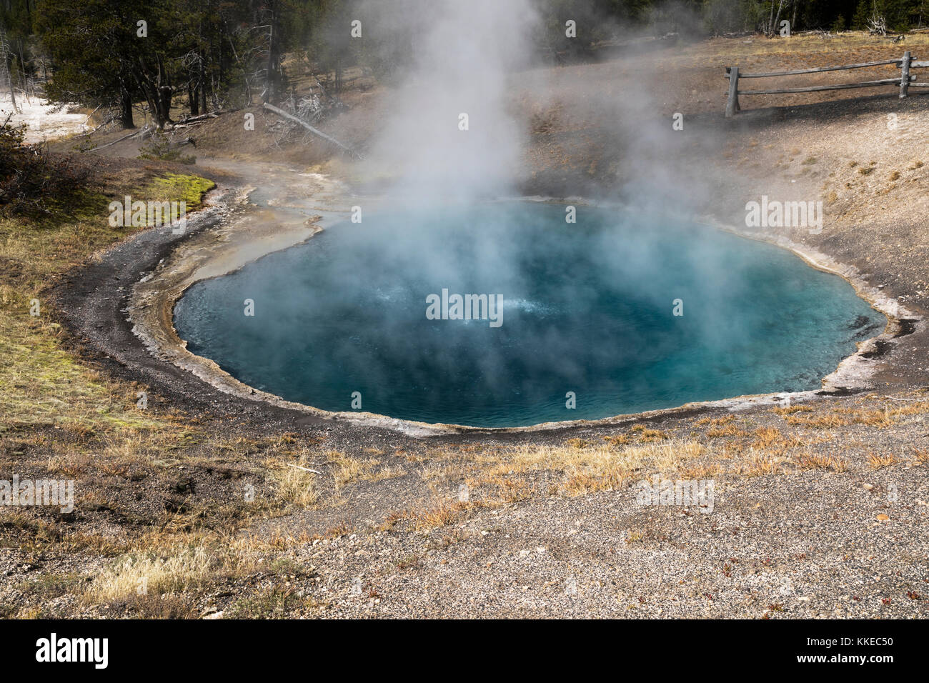 Black Sand Pool Thermal Feature in Black Sand Basin, Yellowstone National Park - Stock Image