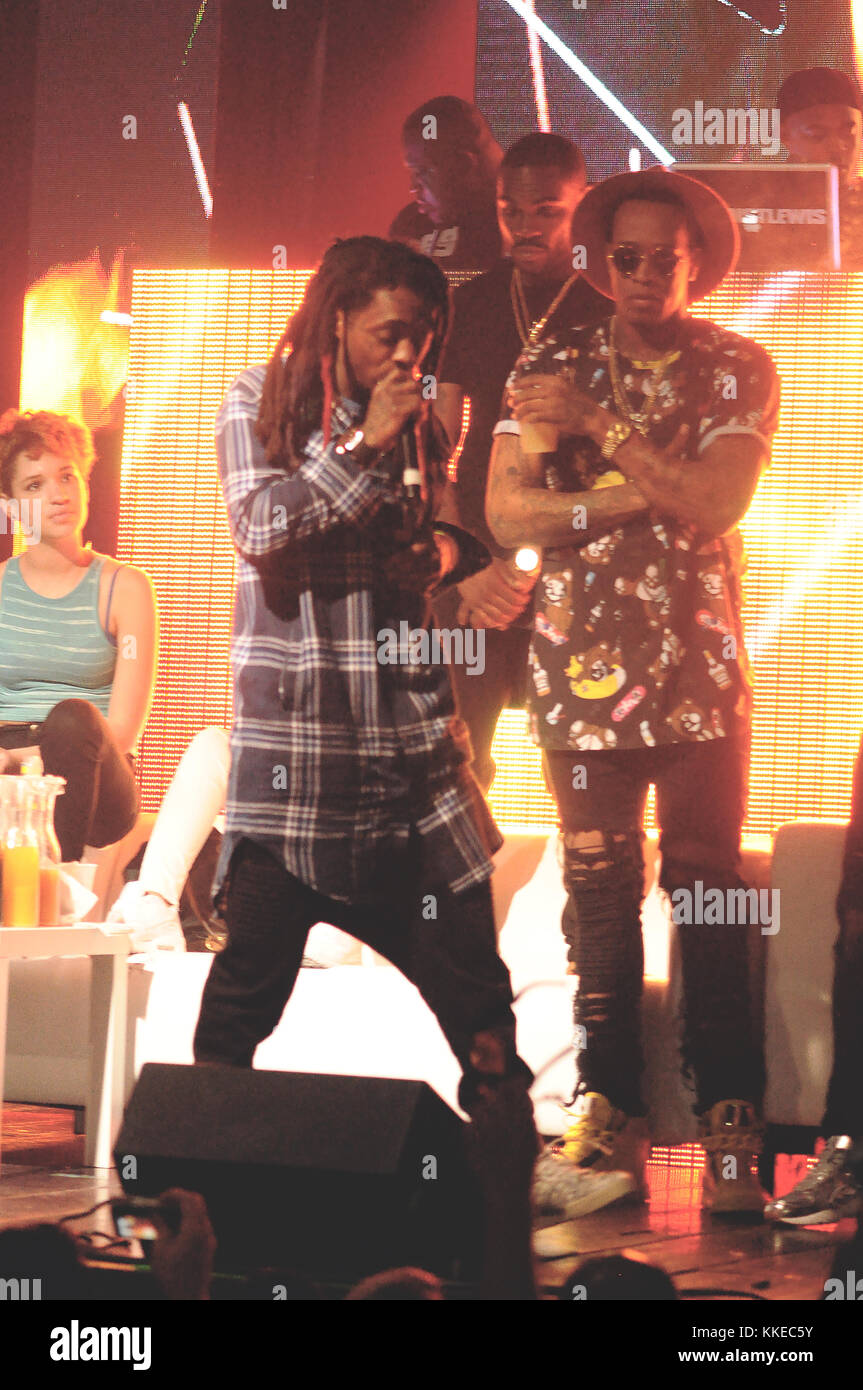 FORT LAUDERDALE, FL - MARCH 23: One of Lil Wayne's bodyguards waded through the crowd at a Florida show early Sunday Stock Photo
