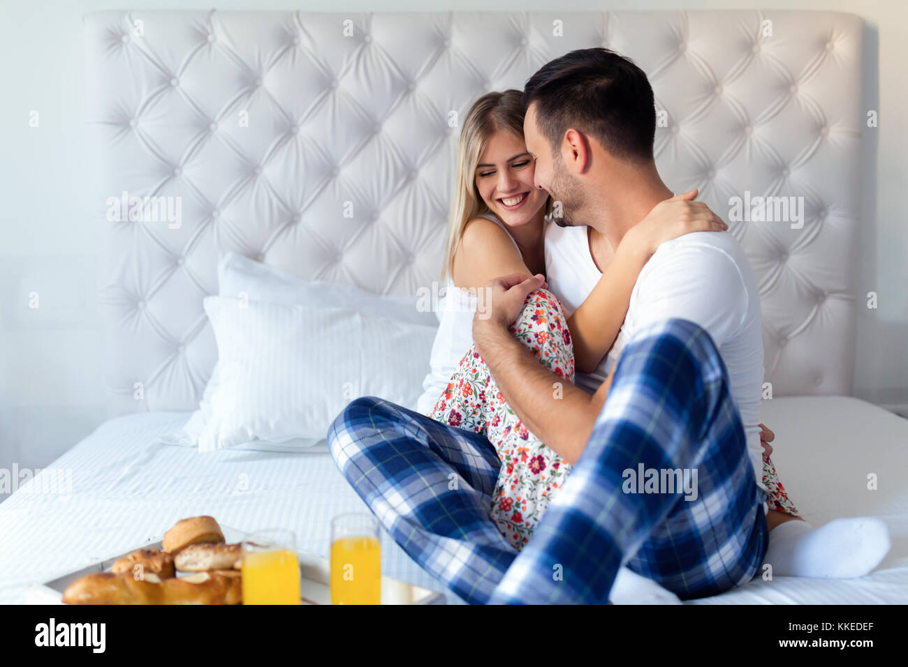 kissing couples romantic in bed couple kissing bed stock photos couple kissing bed stock 2856