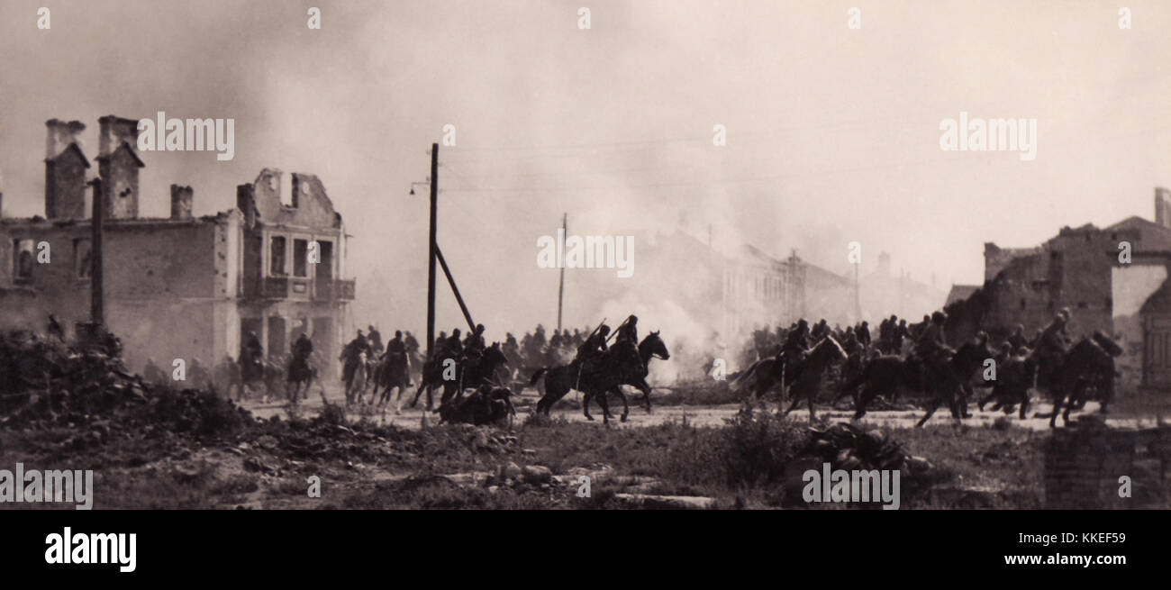 Polish cavalry in Sochaczew(1939)a - Stock Image
