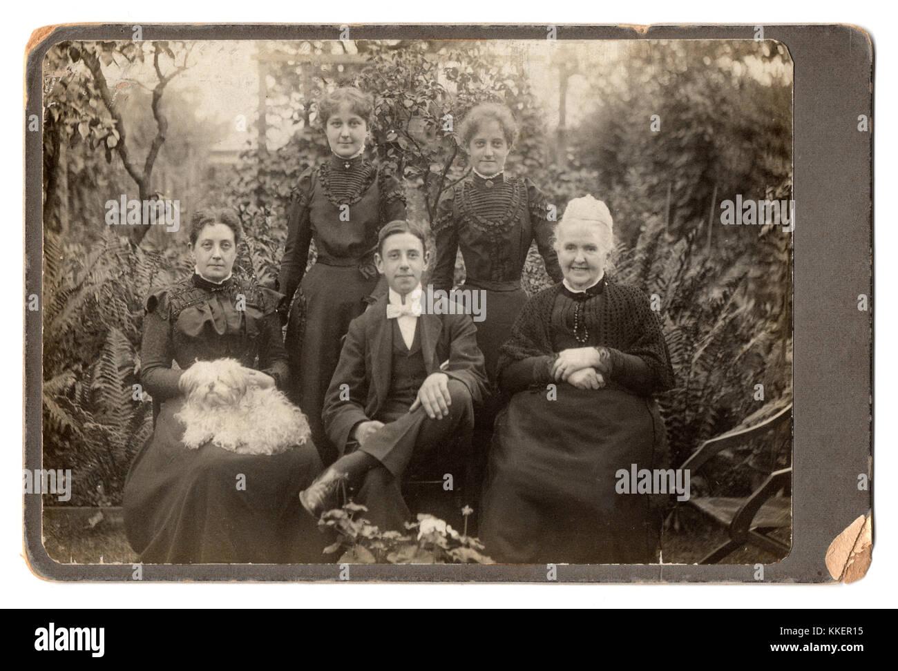 """The Willatt family, 1899:  """"Grandma"""", her daughter Alice, and Alice's children, Maud, Edith and Norris;  """"Grandma"""" Stock Photo"""