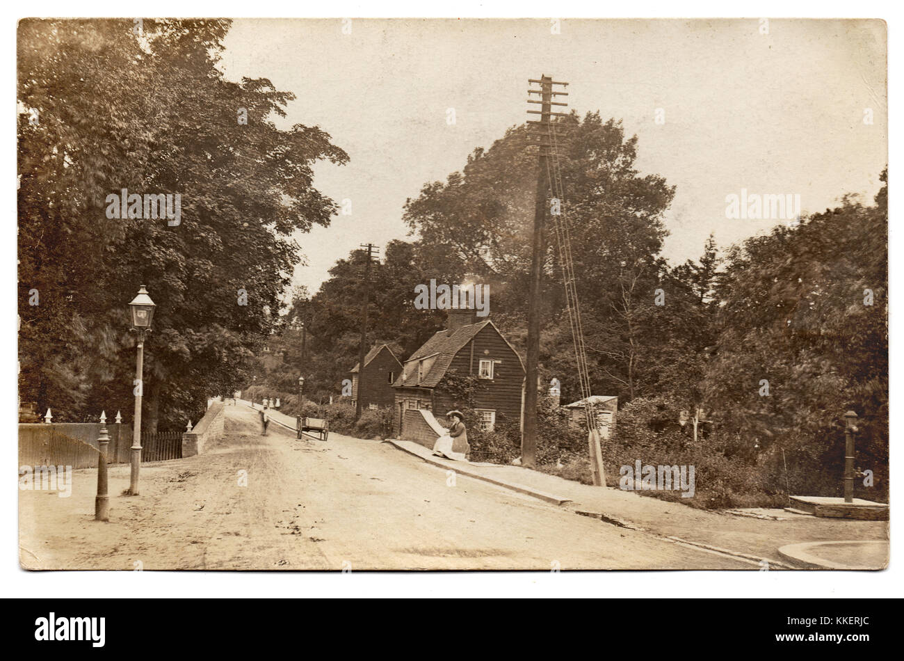 """On the reverse side is inscribed """"Prittlewell (near Priory) app 1895"""".  This is Victoria Avenue, Prittlewell, Southend Stock Photo"""