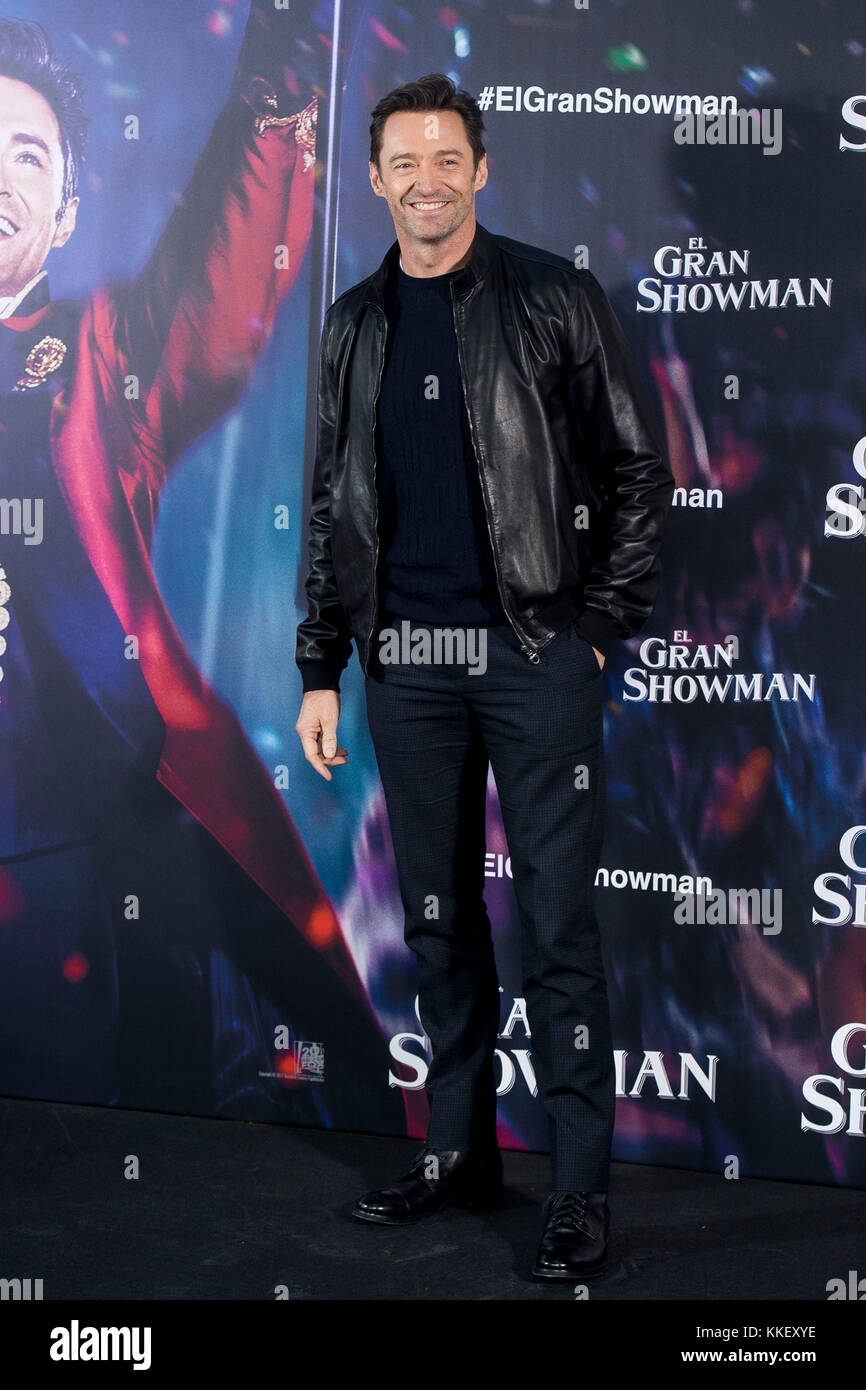 Madrid, Spain. 01st Dec, 2017. Actor Hugh Jackman during the photocall of 'The Greatest Showman' in Madrid - Stock Image