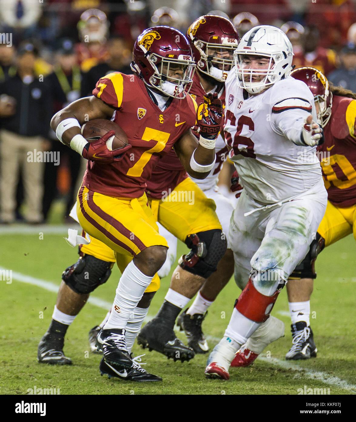 Dec 01 2017 - Santa Clara U.S.A CA USC running back Stephen Carr (7) run for a short gain during the NCAA Pac 12 - Stock Image
