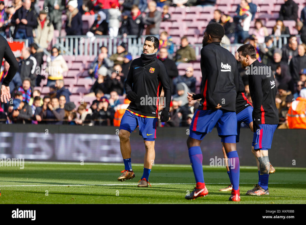 Barcelona, Spain. 02nd Dec, 2017. Training before the match of the La Liga match between FC Barcelona and RC Celta - Stock Image
