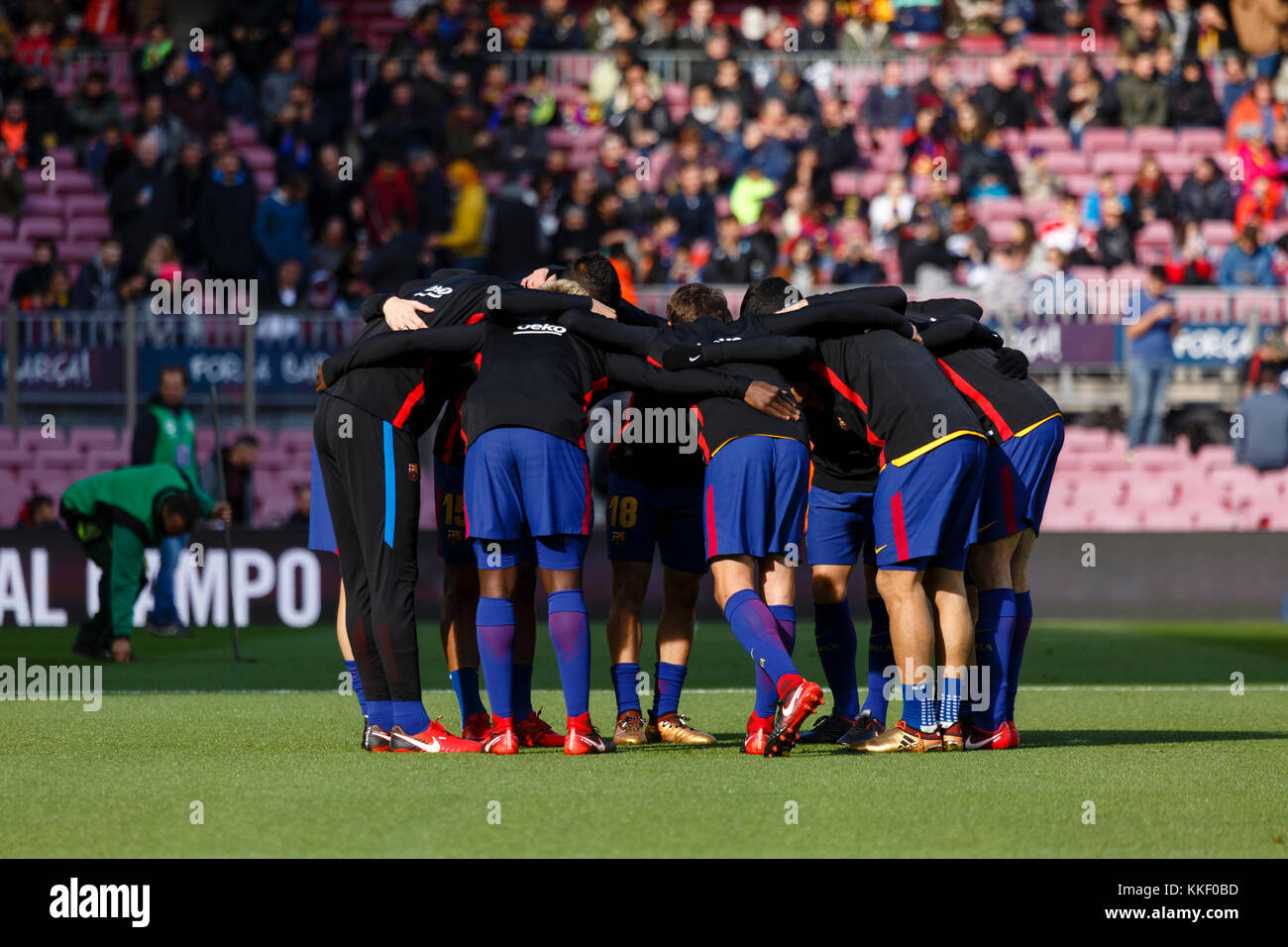 Barcelona, Spain. 02nd Dec, 2017. FC Barcelona team before the match of the La Liga between FC Barcelona and RC - Stock Image