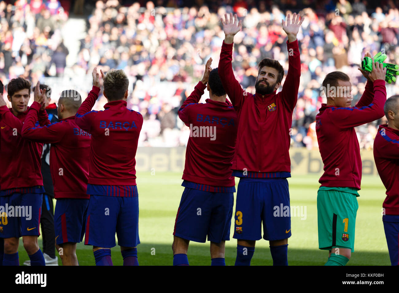 Barcelona, Spain. 02nd Dec, 2017. (03) Gerard Piqué before the match of the La Liga between FC Barcelona and - Stock Image
