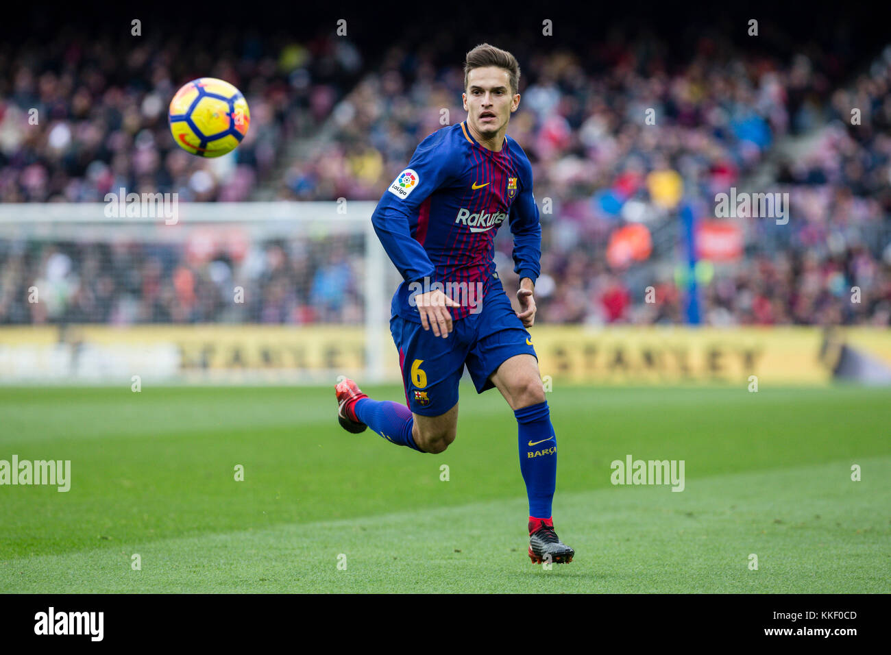 SPAIN - 2th of December: FC Barcelona midfielder Denis Suarez (6) during the match between FC Barcelona against - Stock Image