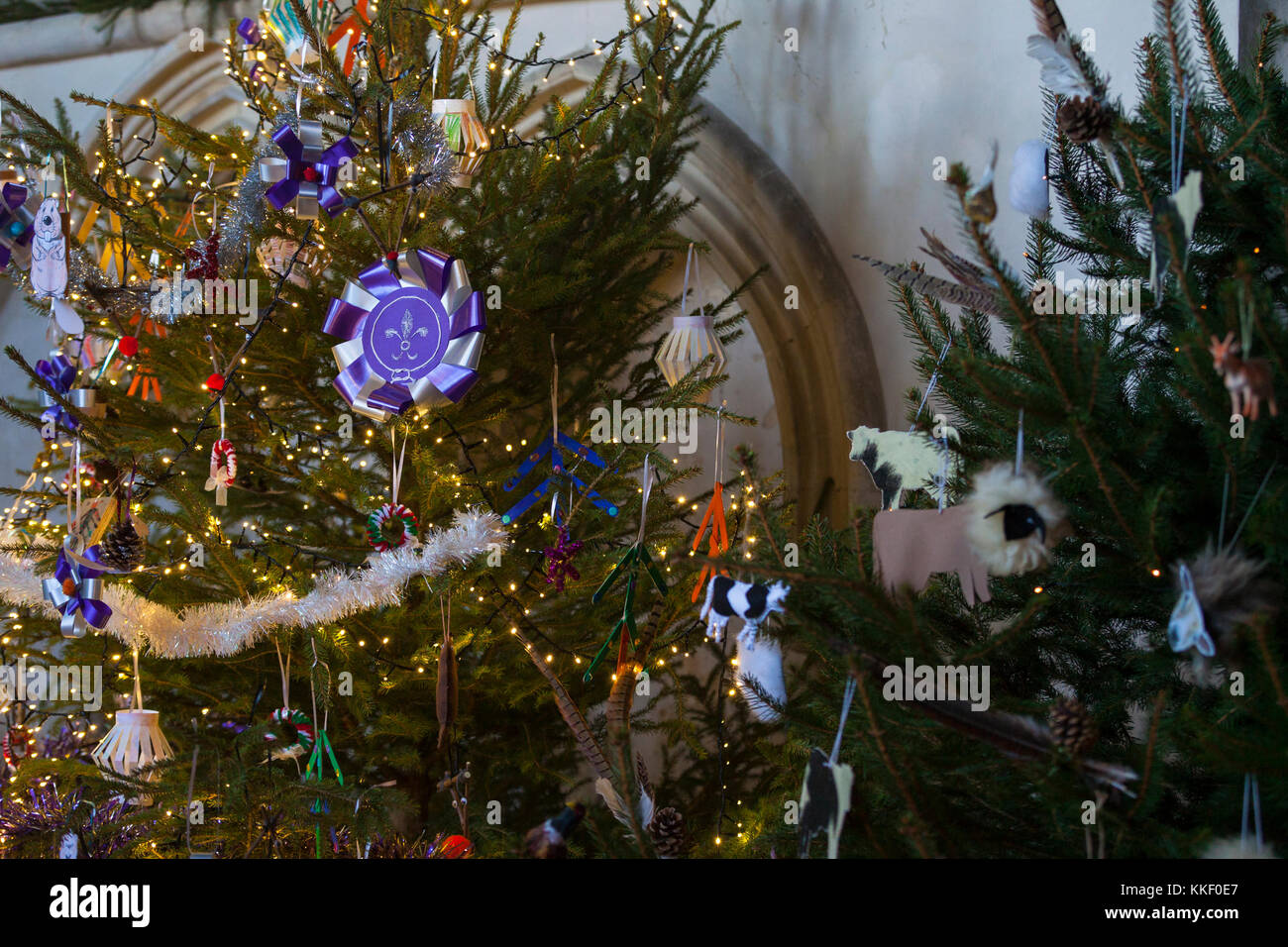 Woodchurch, Kent, UK. 2nd Dec, 2017. A Christmas Tree festival sponsored by the Woodchurch Community Centre in aid - Stock Image