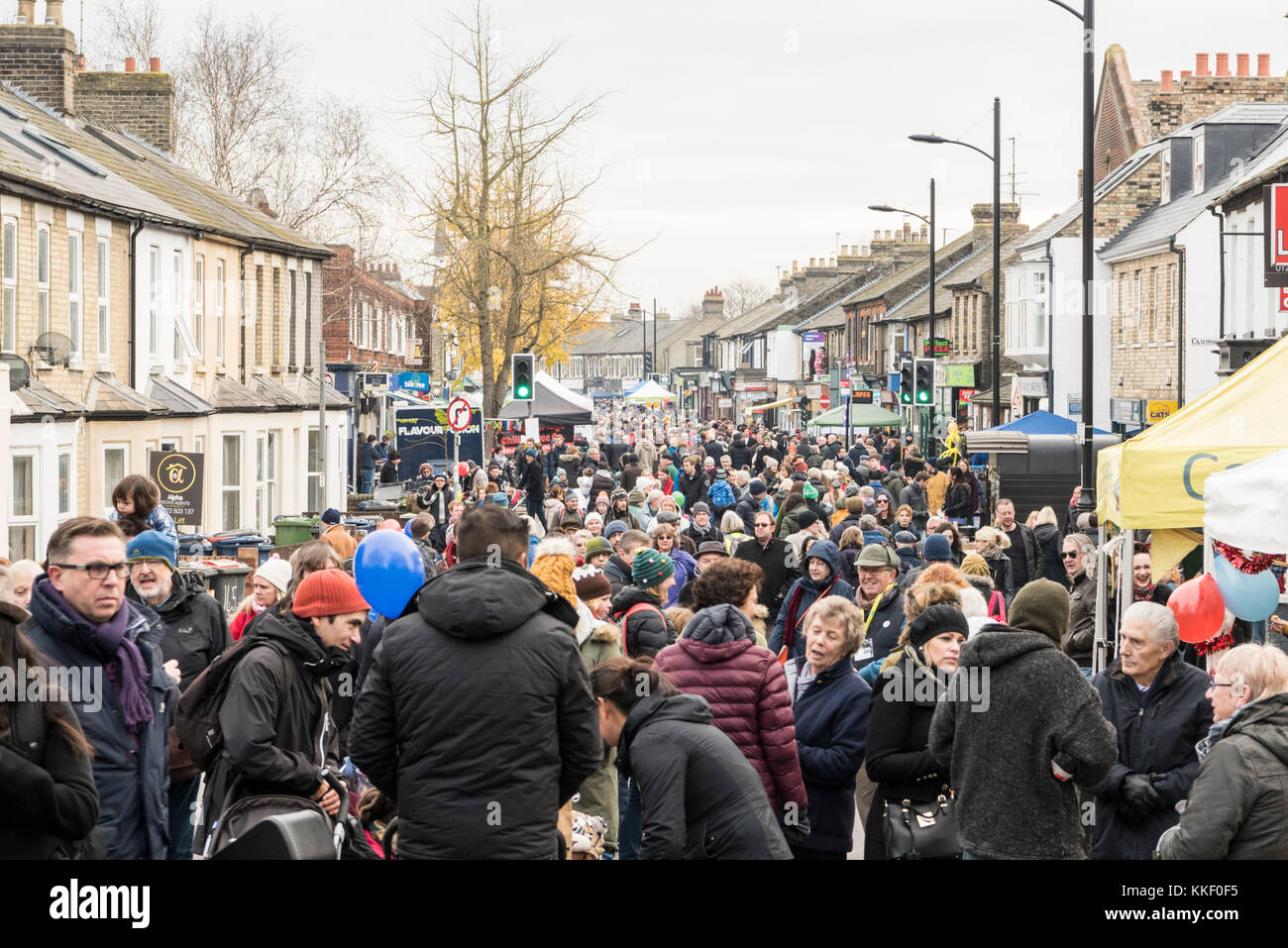 Mill Road Cambridge, UK. 2nd Dec, 2017. People enjoy the annual Winter Fair which takes place in early December. - Stock Image