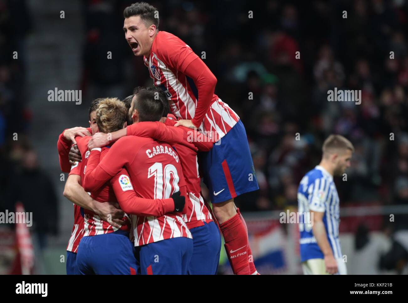 Madrid, Spain. 2nd Dec, 2017. Players of Atletico de Madrid celebrate their second goal during a Spanish League - Stock Image