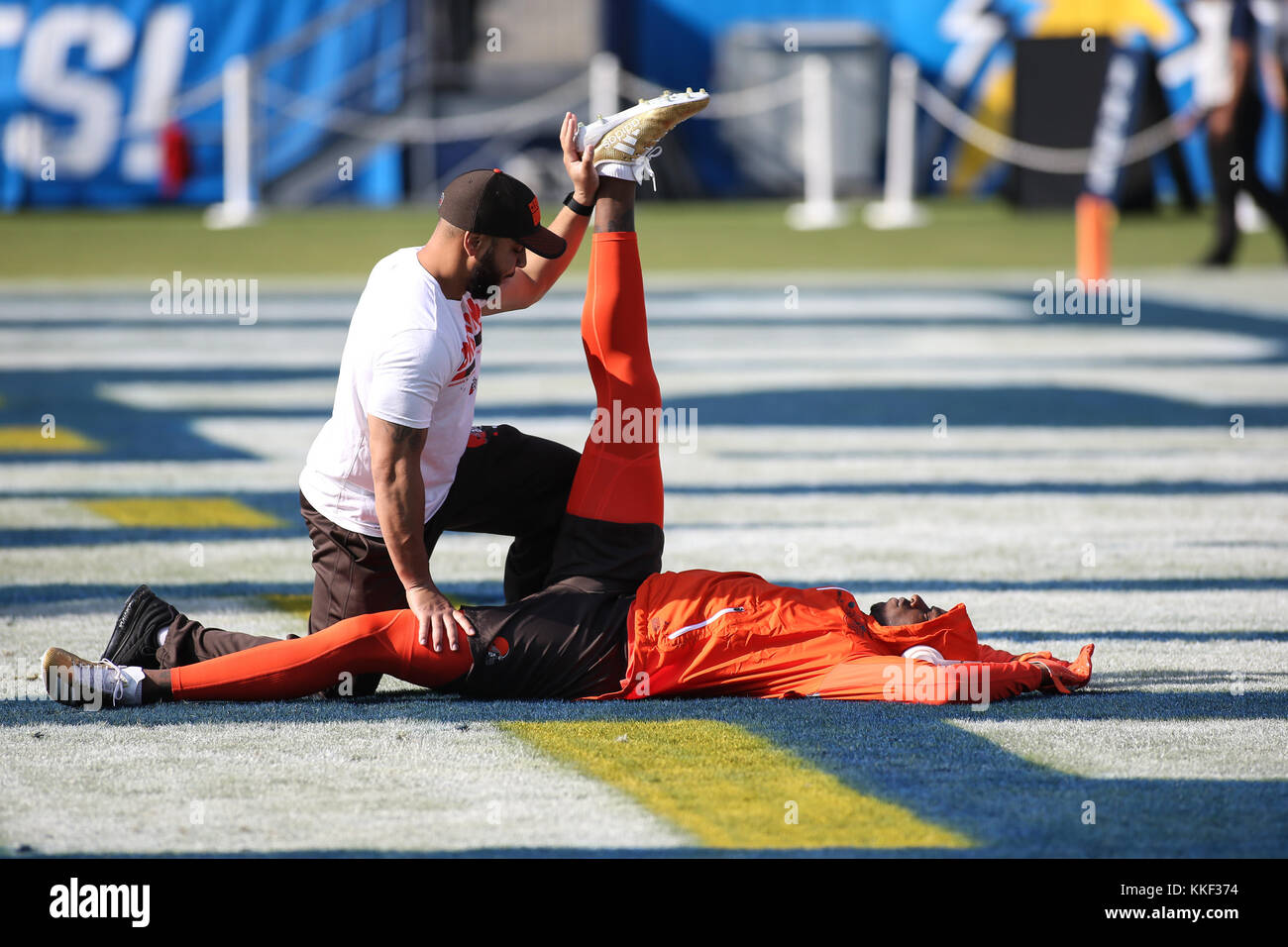 Carson, CA. 03rd Dec, 2017. Cleveland Browns receiver Josh Gordon Pre-game before the NFL Cleveland Browns vs Los Angeles Chargers at the Stubhub Center in Carson, Ca on December 03, 2017. (Absolute Complete Photographer & Company Credit: Jevone Moore/Cal Sport Media (Network Television please contact your Sales Representative for Television usage. Credit: csm/Alamy Live News Stock Photo
