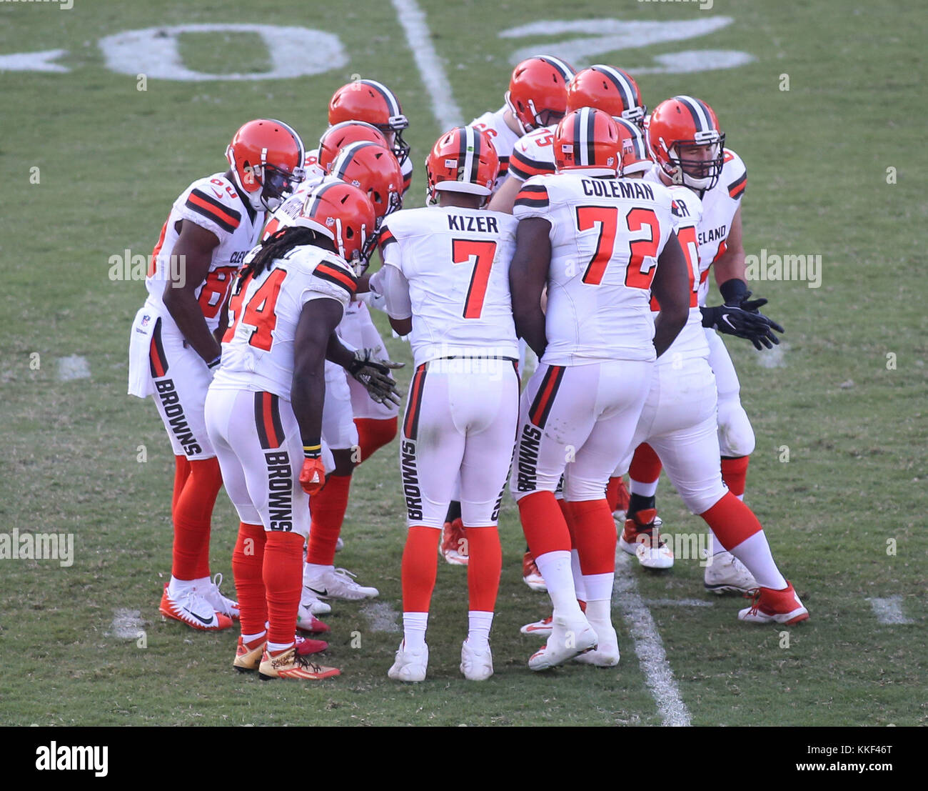 Carson, CA. 03rd Dec, 2017. Cleveland Browns offense during the NFL Cleveland Browns vs Los Angeles Chargers at Stock Photo