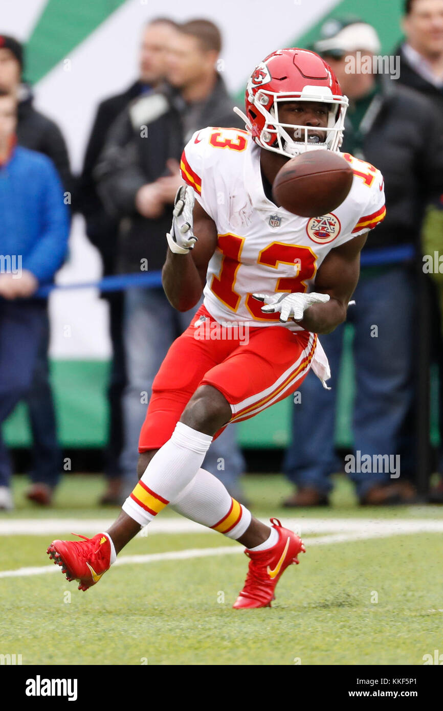 East Rutherford, New Jersey, USA. 3rd Dec, 2017. Kansas City Chiefs wide receiver De'Anthony Thomas (13) in action Stock Photo