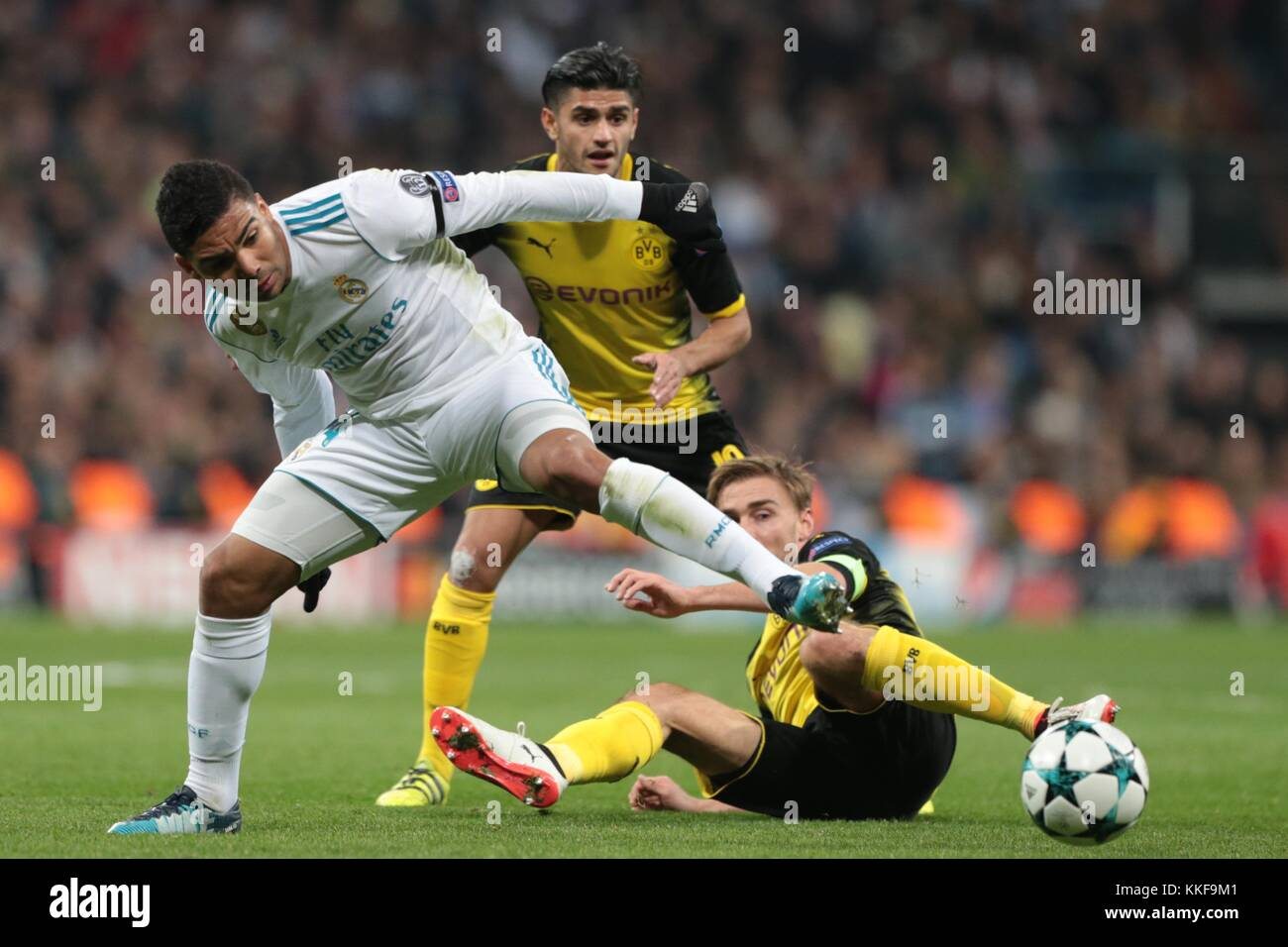 Madrid. 6th Dec, 2017. Casemiro(L) of Real Madrid competes during the UEFA Champions League group H football match - Stock Image